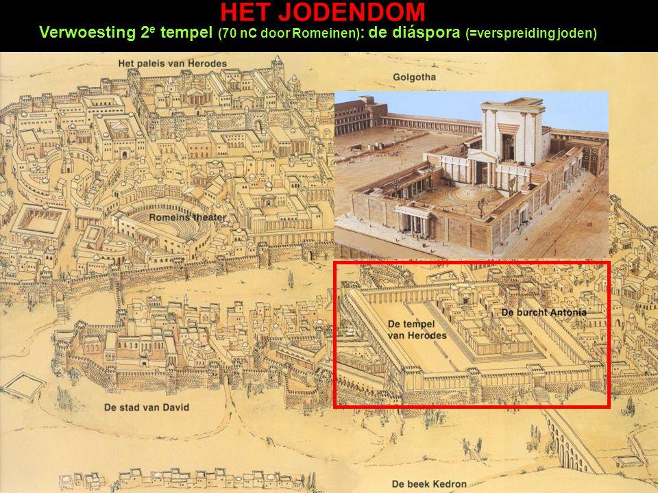 HET JODENDOM Verwoesting 2 e tempel (70 nC door Romeinen) : de diáspora (=verspreiding joden)