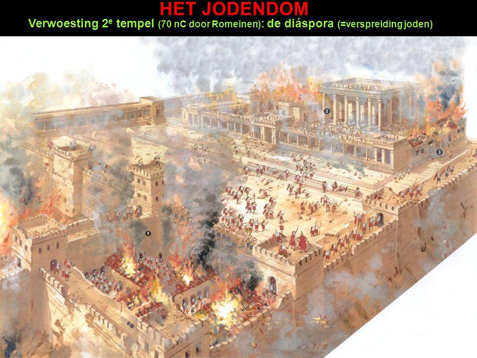 Verwoesting 2 e tempel (70 nC door Romeinen) : de diáspora (=verspreiding joden) HET JODENDOM