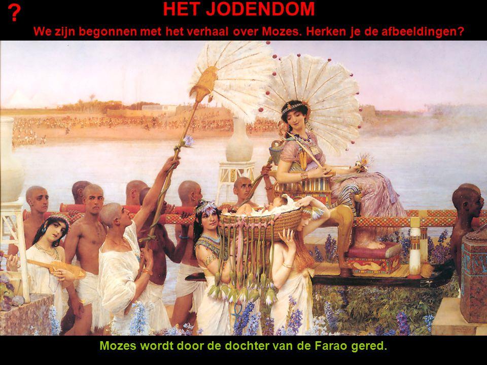 HET JODENDOM We zijn begonnen met het verhaal over Mozes. Herken je de afbeeldingen? ? Mozes wordt door de dochter van de Farao gered.