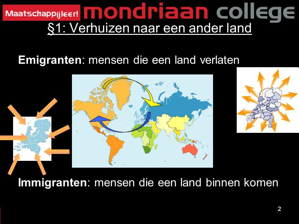 2 §1: Verhuizen naar een ander land Emigranten: mensen die een land verlaten Immigranten: mensen die een land binnen komen