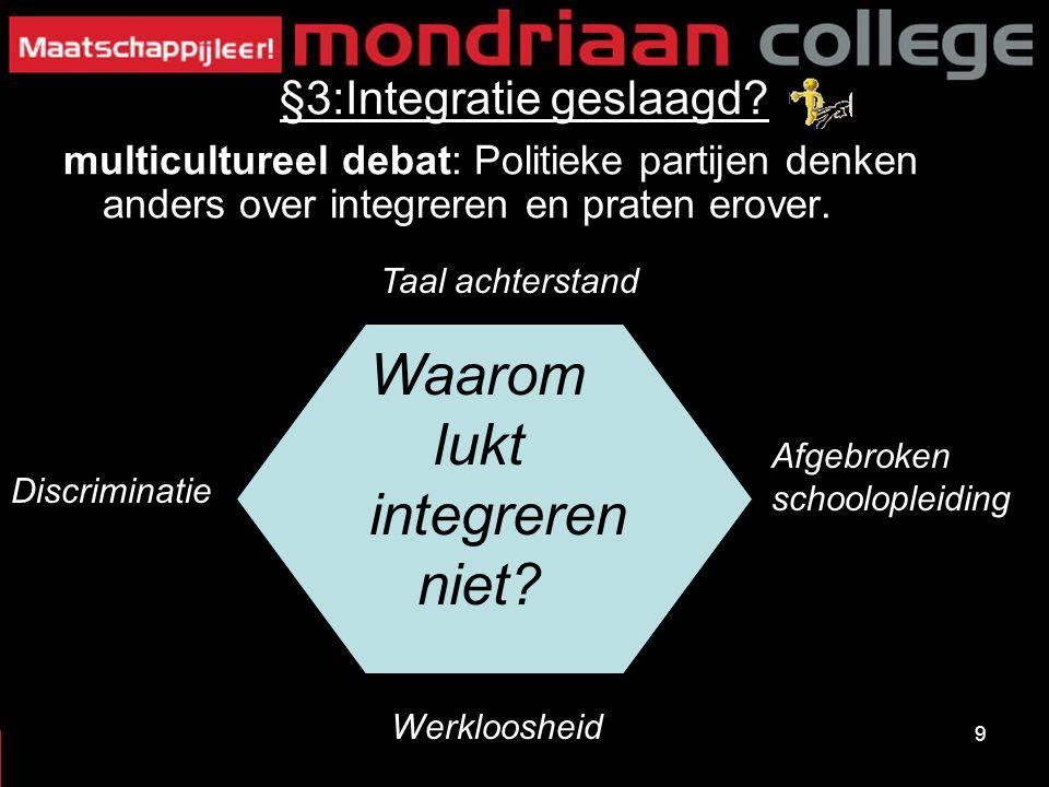 9 §3:Integratie geslaagd? multicultureel debat: Politieke partijen denken anders over integreren en praten erover. Taal achterstand Afgebroken schoolo
