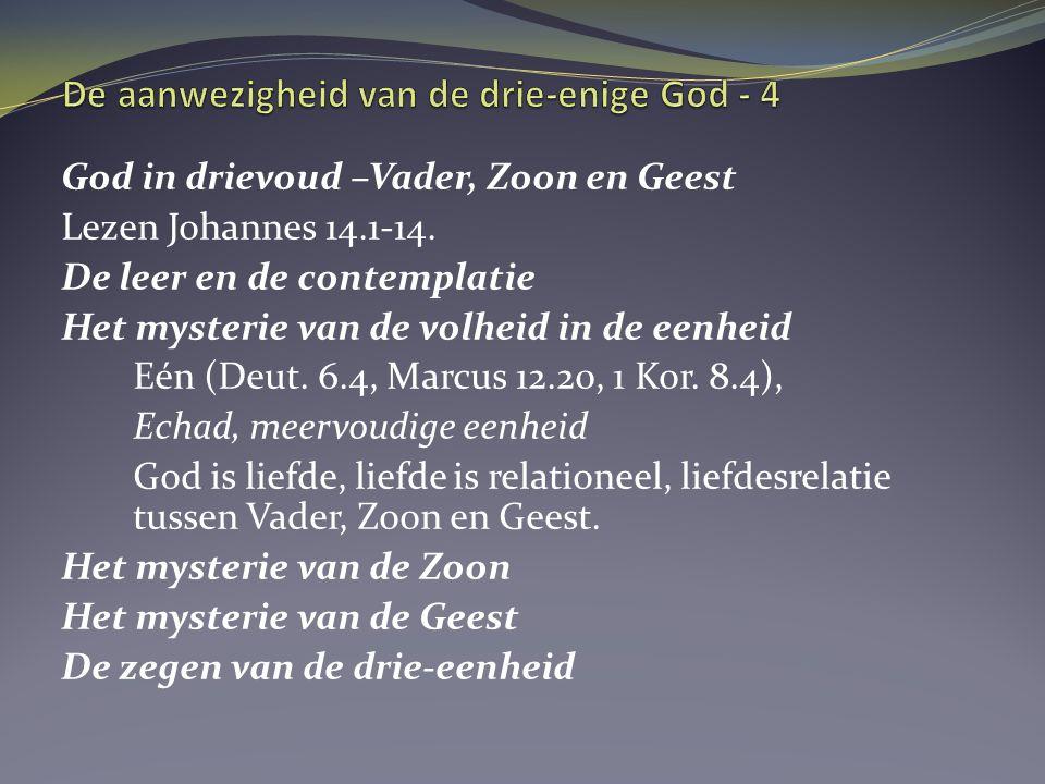 Drie-eenheid in het leven van de gelovige De Vader is de bron, zijn Woord is de rivier, de Geest is de stroming van de rivier Gregorius van Nazianza, 4 e eeuw VADER – God boven ons ZOON – God vóór ons en met ons GEEST – God bij ons en in ons