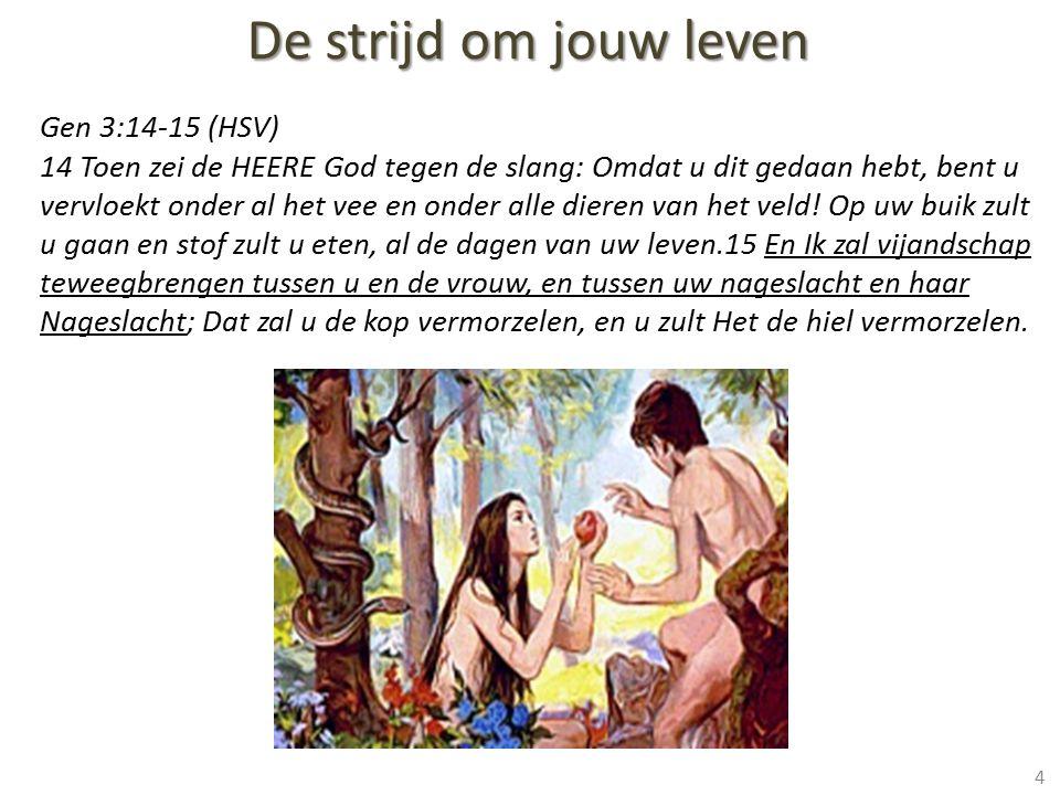 De strijd om jouw leven 4 Gen 3:14-15 (HSV) 14 Toen zei de HEERE God tegen de slang: Omdat u dit gedaan hebt, bent u vervloekt onder al het vee en ond