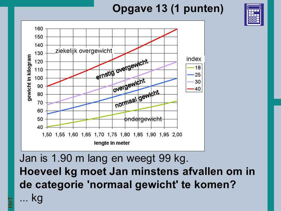 HoT Opgave 13 (1 punten) Jan is 1.90 m lang en weegt 99 kg. Hoeveel kg moet Jan minstens afvallen om in de categorie 'normaal gewicht' te komen?... kg