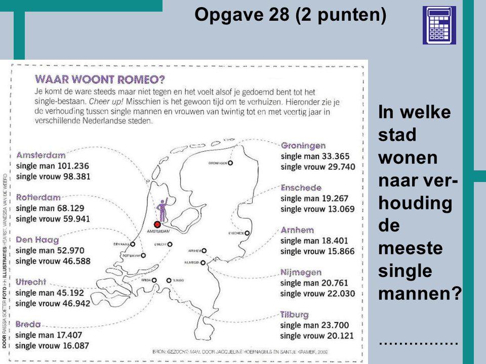HoT Opgave 28 (2 punten) In welke stad wonen naar ver- houding de meeste single mannen?................