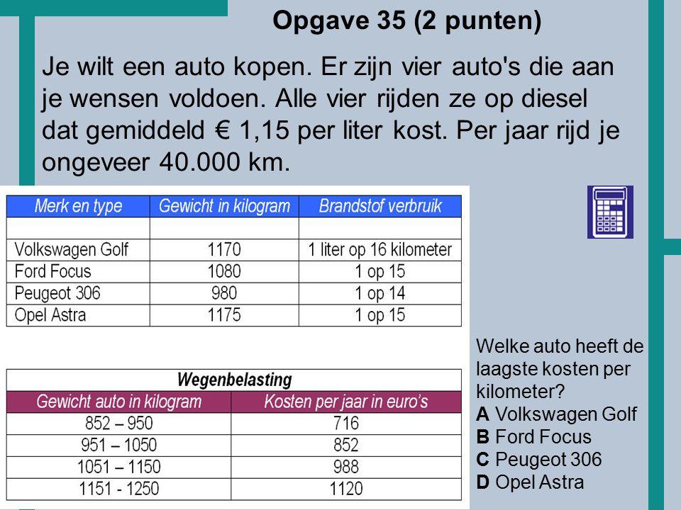 HoT Welke auto heeft de laagste kosten per kilometer? A Volkswagen Golf B Ford Focus C Peugeot 306 D Opel Astra Je wilt een auto kopen. Er zijn vier a