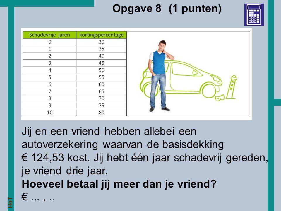 HoT Opgave 8 (1 punten) Jij en een vriend hebben allebei een autoverzekering waarvan de basisdekking € 124,53 kost. Jij hebt één jaar schadevrij gered