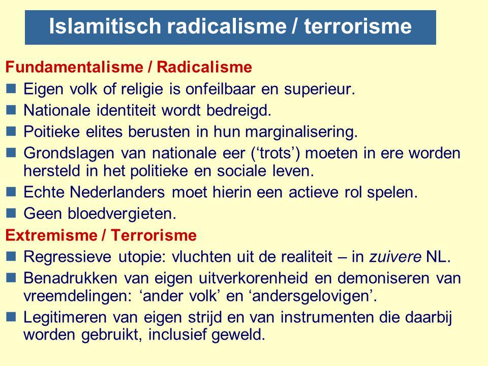 Radicalisme ≠ Terrorisme Mechanische opvatting van radicalisering nRadicalisering als zichzelf versterkend proces. nLogisch eindpunt  terrorisme. nOv