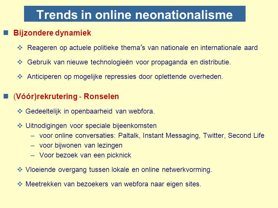 Patronen van online neonationalisme nNeonationalistische en antisemitische InternetLocaties  Statische MateriaalSites  Interactieve DiscussieFora: w