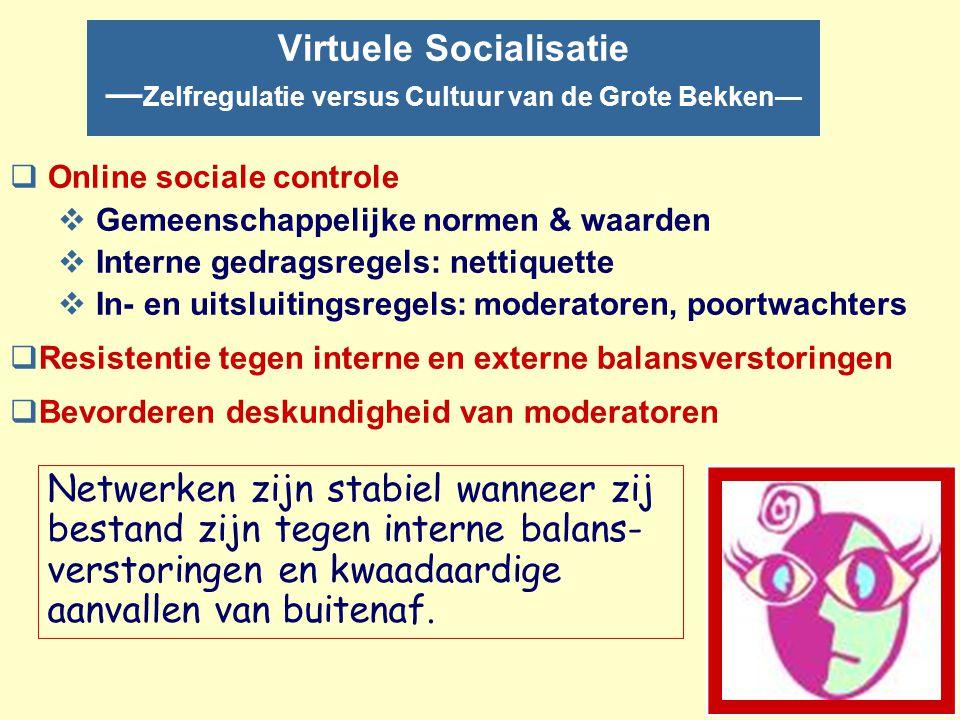 TegenStrategie: Wat te doen? nZelfregulatie –Online socialisatie –Versterken van beheer van online gemeenschappen –Meldpunten: MDA, ADB's en CIDI nKen