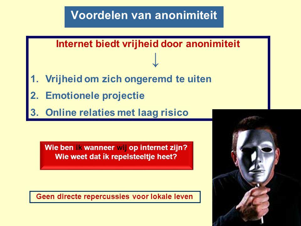 Voordelen van anonimiteit Internet biedt vrijheid door anonimiteit ↓ 1.Vrijheid om zich ongeremd te uiten 2.Emotionele projectie 3.Online relaties met laag risico Geen directe repercussies voor lokale leven Wie ben ik wanneer wij op internet zijn.