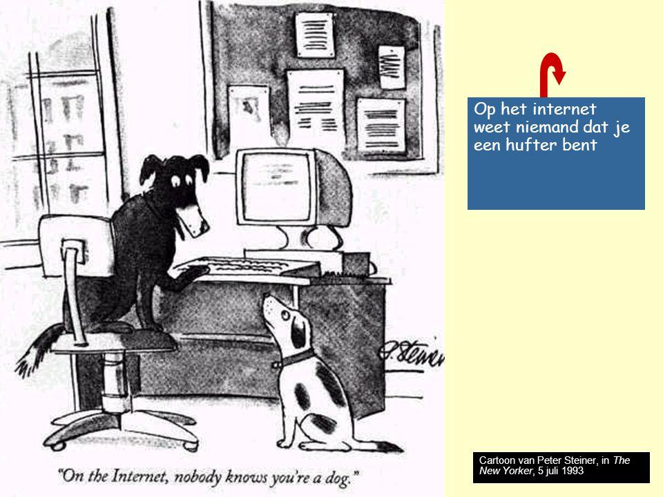 Nog meer risico's Risico's  Internetverslaving: parttime passie  fulltime obsessie  Cybercrimes: fraude, diefstal, oplichting  Cyberstalking: belaagd op het internet  Online pedofilie: sporen van een misdaad  Ontregeling van infrastructuur: massadisruptie  Huwelijk van big brother en soft sister - databody