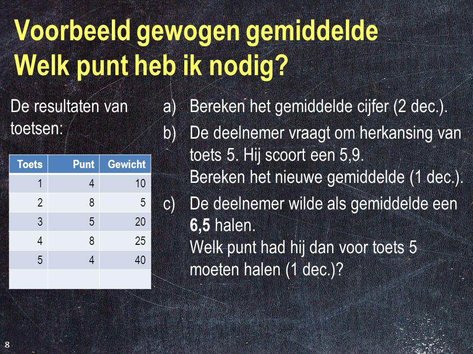 b) Percentage leerlingen dat boven het gemiddelde scoort (1 dec.) Het gemiddelde = 6,6 Wie zit boven het gemiddelde.