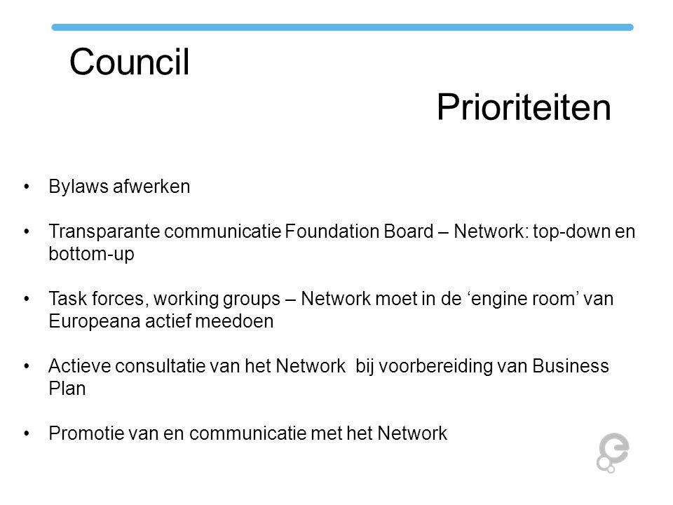 Council Prioriteiten Bylaws afwerken Transparante communicatie Foundation Board – Network: top-down en bottom-up Task forces, working groups – Network