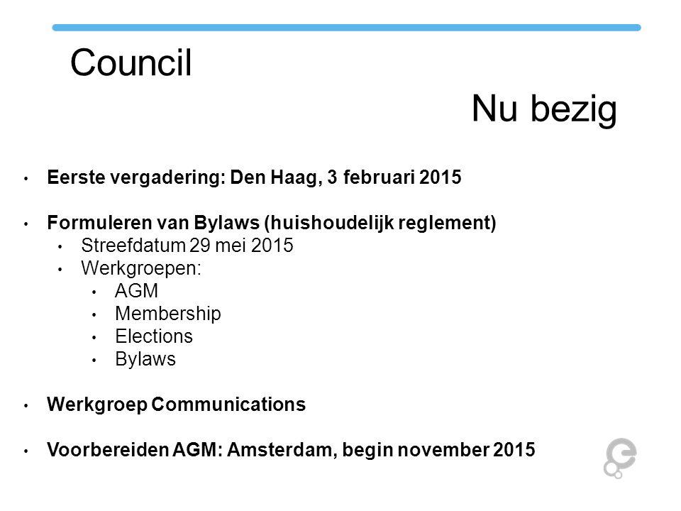 Council Taken Leiding van de Association Secretariaat = Europeana Office Aanduiden van de Management Board, vertegenwoordigers van het Network in de Foundation Organiseren van de AGM Locatie Agenda Verkiezingen Activeren van het Network Werkgroepen Opvolgen van Task Forces