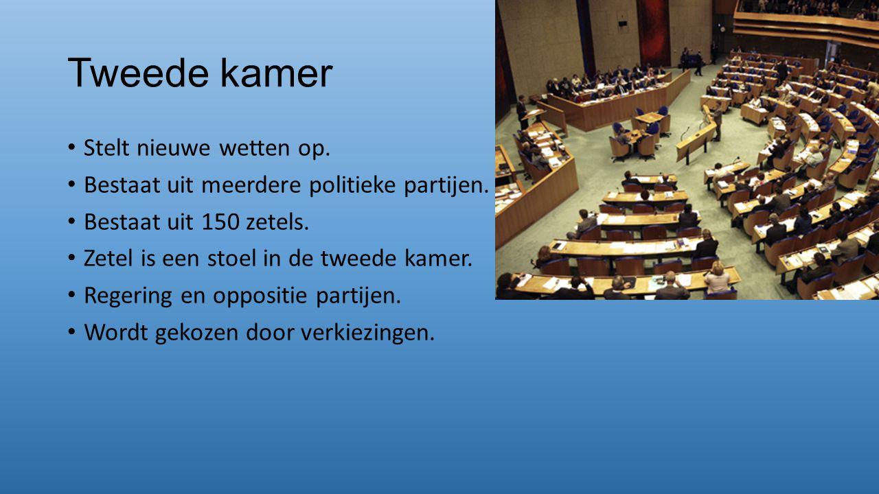 Tweede kamer Stelt nieuwe wetten op. Bestaat uit meerdere politieke partijen. Bestaat uit 150 zetels. Zetel is een stoel in de tweede kamer. Regering
