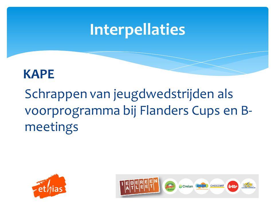 KAPE Schrappen van jeugdwedstrijden als voorprogramma bij Flanders Cups en B- meetings Interpellaties