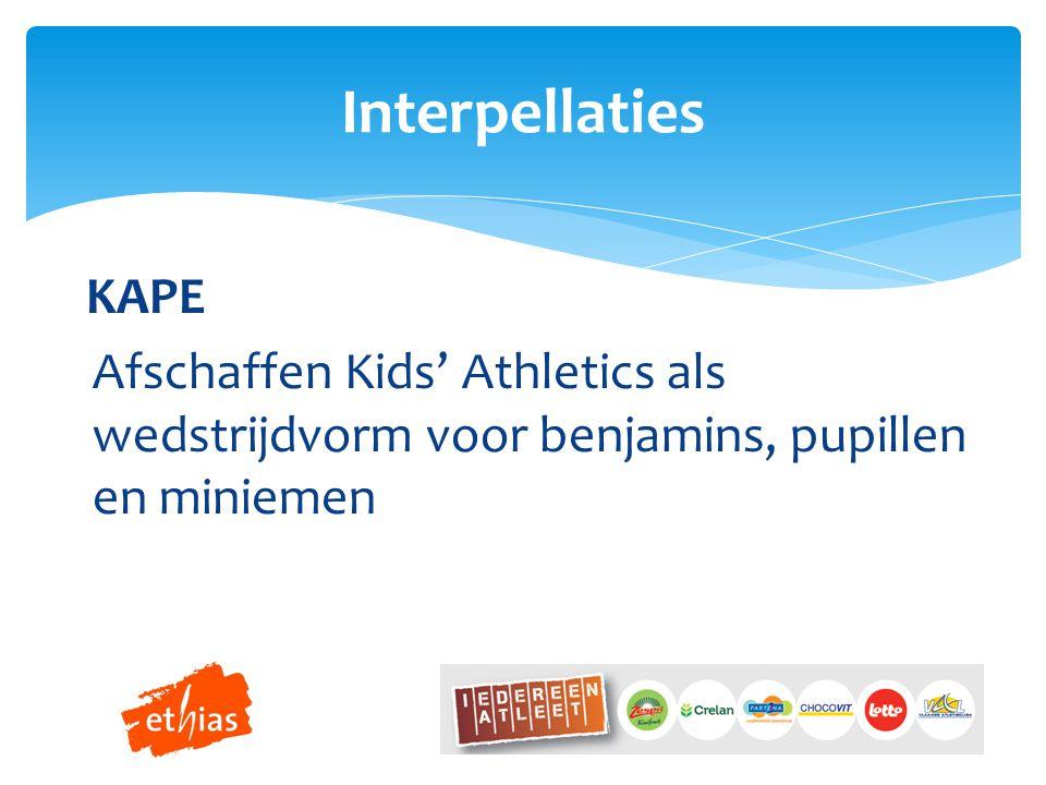 KAPE Afschaffen Kids' Athletics als wedstrijdvorm voor benjamins, pupillen en miniemen Interpellaties