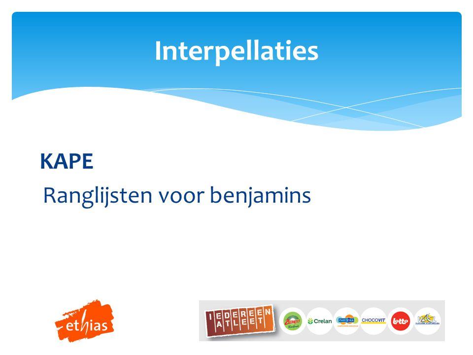KAPE Ranglijsten voor benjamins Interpellaties