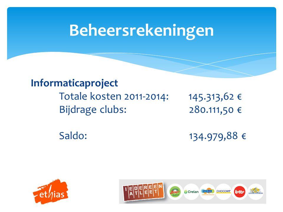 Beheersrekeningen Informaticaproject Totale kosten 2011-2014: 145.313,62 € Bijdrage clubs: 280.111,50 € Saldo: 134.979,88 €