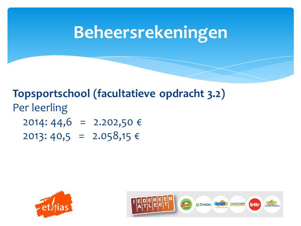 Beheersrekeningen Topsportschool (facultatieve opdracht 3.2) Per leerling 2014: 44,6 = 2.202,50 € 2013: 40,5 = 2.058,15 €