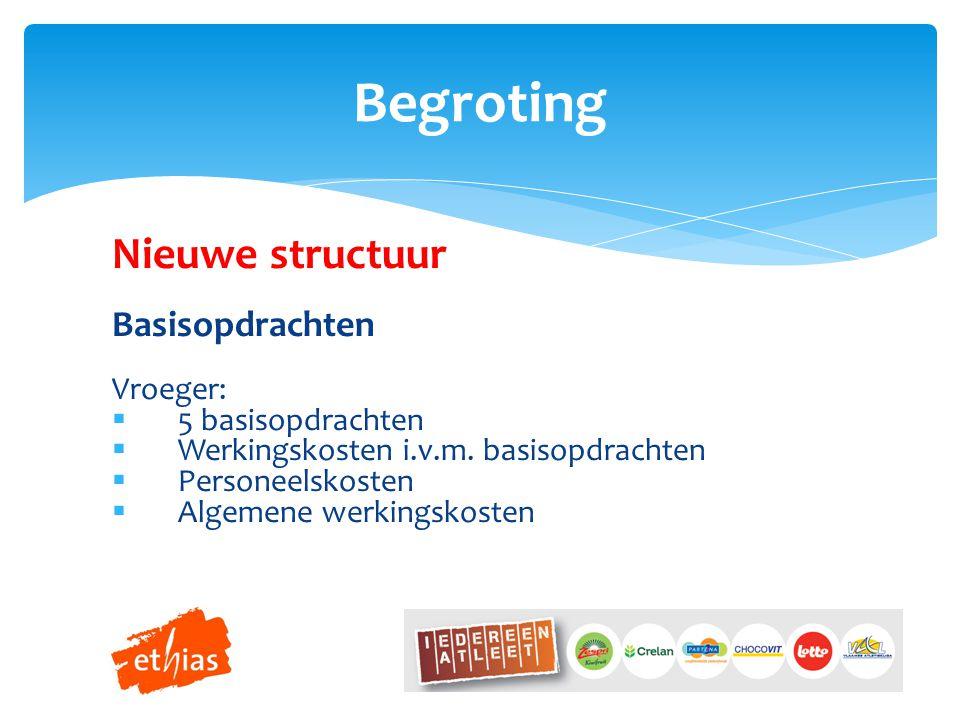 Nieuwe structuur Basisopdrachten Vroeger:  5 basisopdrachten  Werkingskosten i.v.m.
