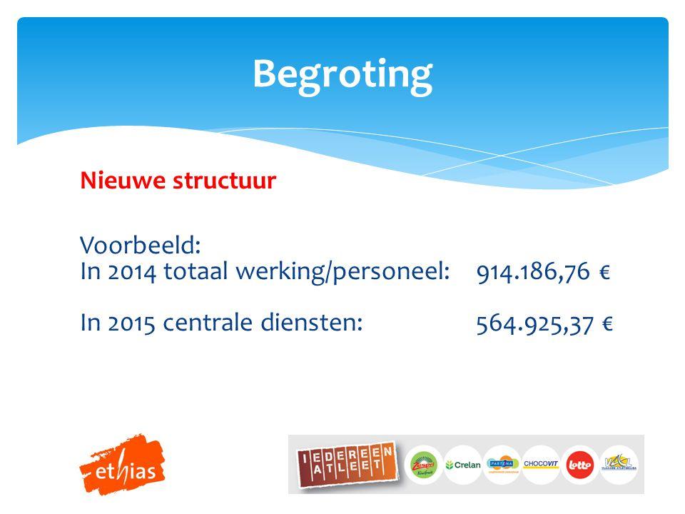 Nieuwe structuur Voorbeeld: In 2014 totaal werking/personeel:914.186,76 € In 2015 centrale diensten:564.925,37 € Begroting