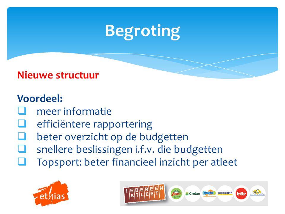 Nieuwe structuur Voordeel:  meer informatie  efficiëntere rapportering  beter overzicht op de budgetten  snellere beslissingen i.f.v.