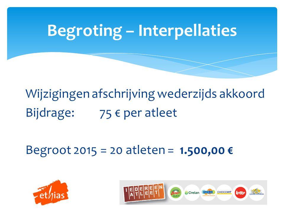 Wijzigingen afschrijving wederzijds akkoord Bijdrage:75 € per atleet Begroot 2015 = 20 atleten = 1.500,00 € Begroting – Interpellaties