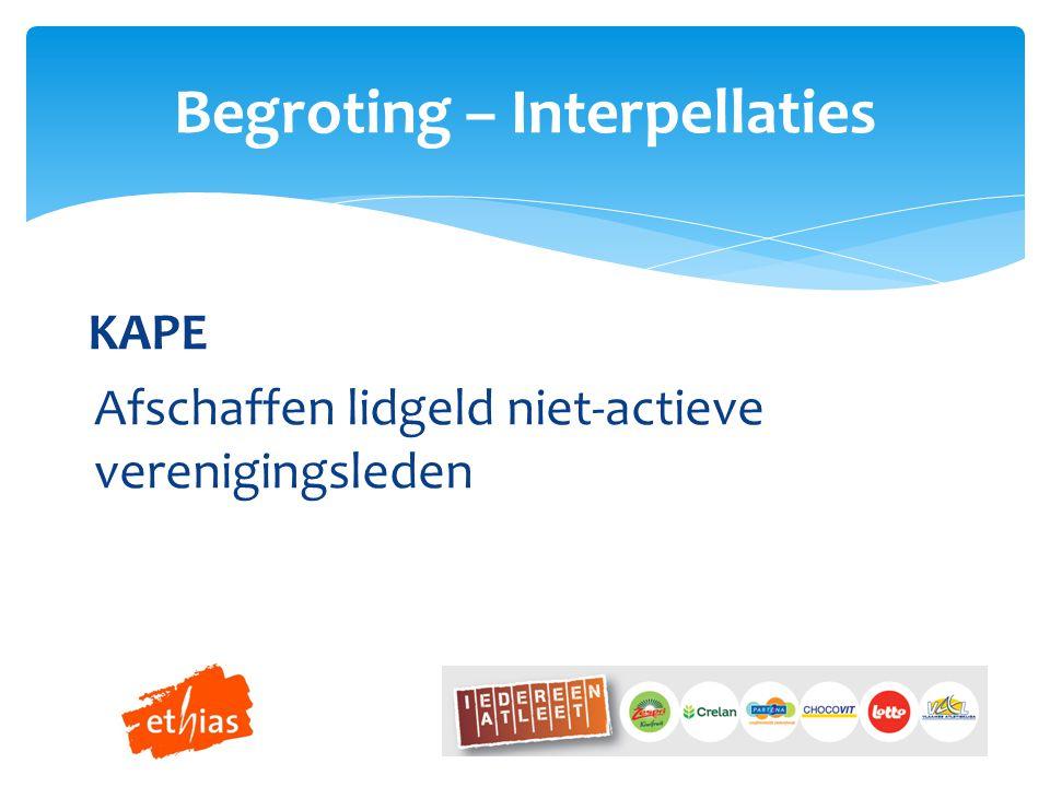 KAPE Afschaffen lidgeld niet-actieve verenigingsleden Begroting – Interpellaties