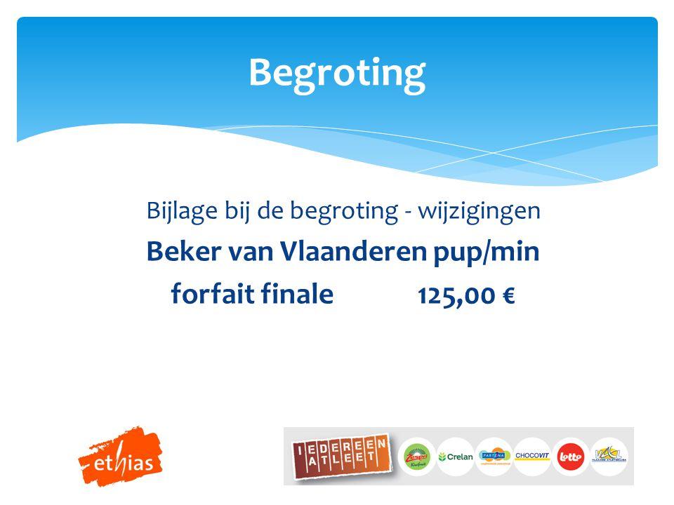 Bijlage bij de begroting - wijzigingen Beker van Vlaanderen pup/min forfait finale125,00 € Begroting