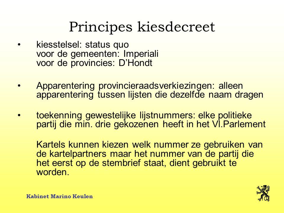 Kabinet Marino Keulen 10 Principes kiesdecreet kiesstelsel: status quo voor de gemeenten: Imperiali voor de provincies: D'Hondt Apparentering provinci