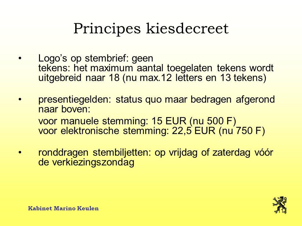 Kabinet Marino Keulen 11 Principes kiesdecreet Logo's op stembrief: geen tekens: het maximum aantal toegelaten tekens wordt uitgebreid naar 18 (nu max