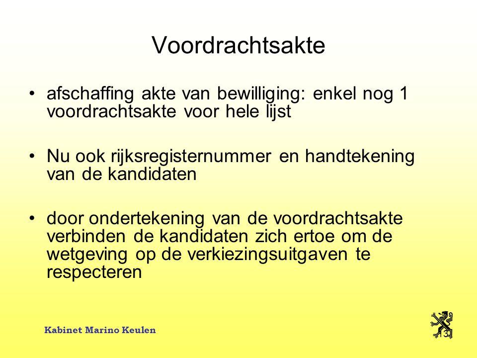 Kabinet Marino Keulen 13 Voordrachtsakte afschaffing akte van bewilliging: enkel nog 1 voordrachtsakte voor hele lijst Nu ook rijksregisternummer en h