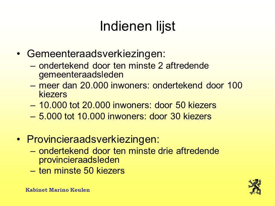 Kabinet Marino Keulen 14 Indienen lijst Gemeenteraadsverkiezingen: –ondertekend door ten minste 2 aftredende gemeenteraadsleden –meer dan 20.000 inwon