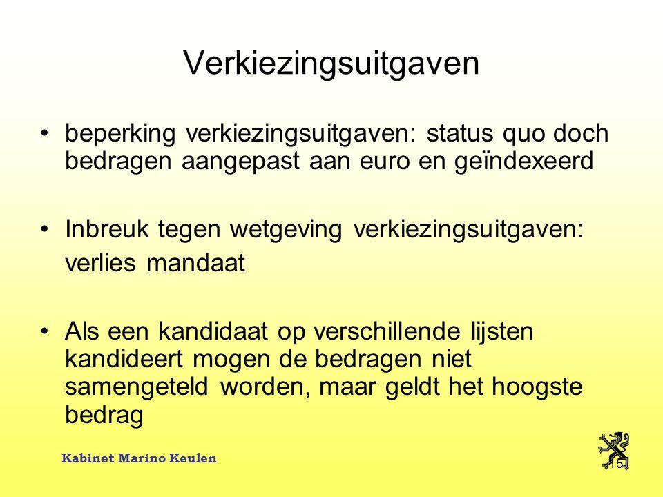 Kabinet Marino Keulen 15 Verkiezingsuitgaven beperking verkiezingsuitgaven: status quo doch bedragen aangepast aan euro en geïndexeerd Inbreuk tegen w