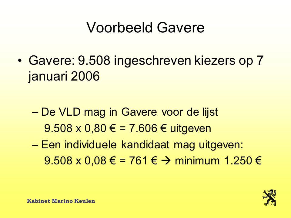 Kabinet Marino Keulen 17 Voorbeeld Gavere Gavere: 9.508 ingeschreven kiezers op 7 januari 2006 –De VLD mag in Gavere voor de lijst 9.508 x 0,80 € = 7.