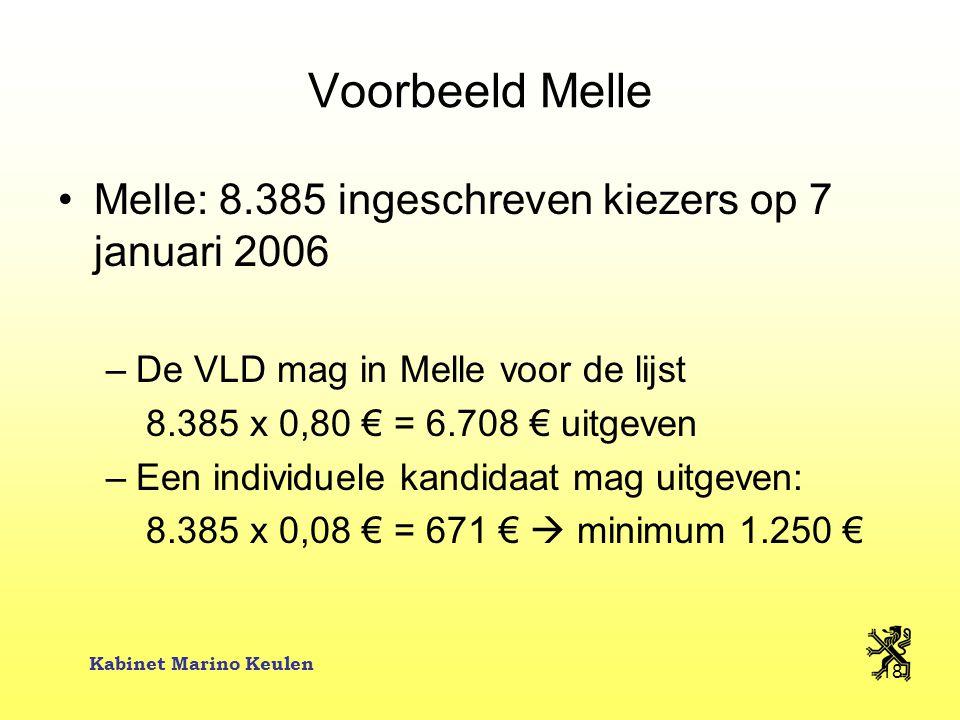 Kabinet Marino Keulen 18 Voorbeeld Melle Melle: 8.385 ingeschreven kiezers op 7 januari 2006 –De VLD mag in Melle voor de lijst 8.385 x 0,80 € = 6.708