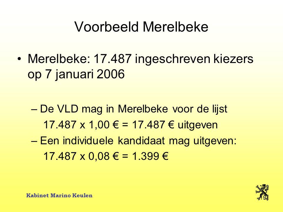 Kabinet Marino Keulen 19 Voorbeeld Merelbeke Merelbeke: 17.487 ingeschreven kiezers op 7 januari 2006 –De VLD mag in Merelbeke voor de lijst 17.487 x