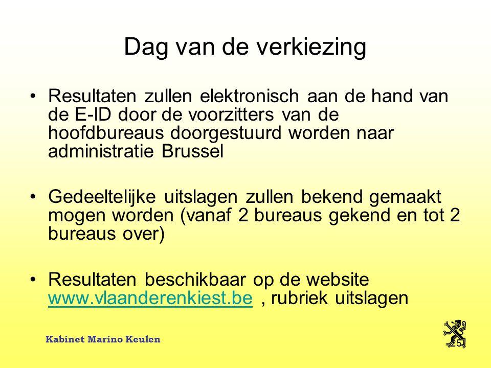 Kabinet Marino Keulen 25 Dag van de verkiezing Resultaten zullen elektronisch aan de hand van de E-ID door de voorzitters van de hoofdbureaus doorgest
