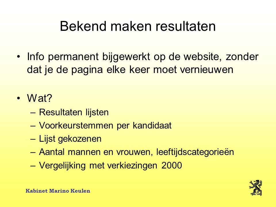 Kabinet Marino Keulen 26 Bekend maken resultaten Info permanent bijgewerkt op de website, zonder dat je de pagina elke keer moet vernieuwen Wat? –Resu