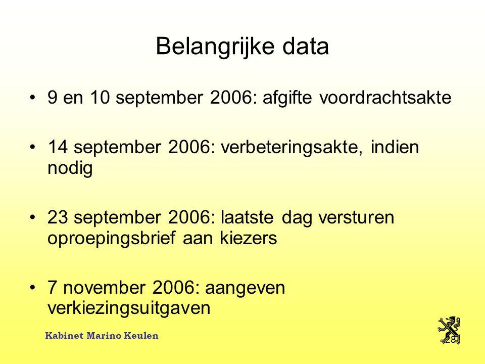 Kabinet Marino Keulen 28 Belangrijke data 9 en 10 september 2006: afgifte voordrachtsakte 14 september 2006: verbeteringsakte, indien nodig 23 septemb