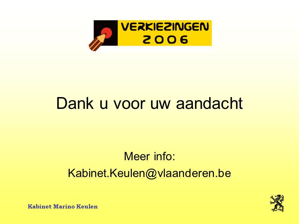 Kabinet Marino Keulen 34 Dank u voor uw aandacht Meer info: Kabinet.Keulen@vlaanderen.be