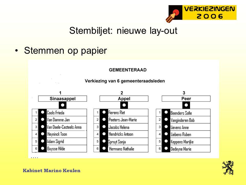 Kabinet Marino Keulen 19 Voorbeeld Merelbeke Merelbeke: 17.487 ingeschreven kiezers op 7 januari 2006 –De VLD mag in Merelbeke voor de lijst 17.487 x 1,00 € = 17.487 € uitgeven –Een individuele kandidaat mag uitgeven: 17.487 x 0,08 € = 1.399 €