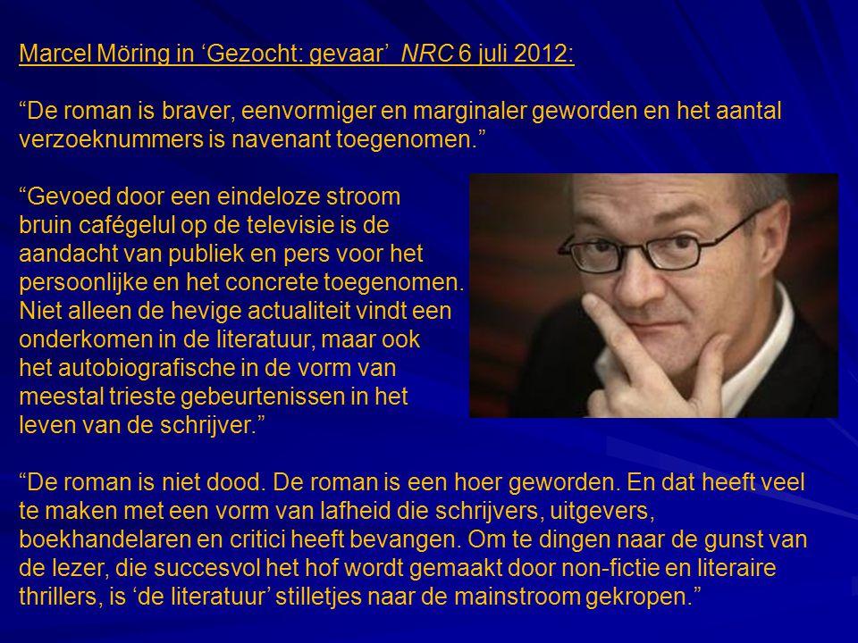 """Marcel Möring in 'Gezocht: gevaar' NRC 6 juli 2012: """"De roman is braver, eenvormiger en marginaler geworden en het aantal verzoeknummers is navenant t"""