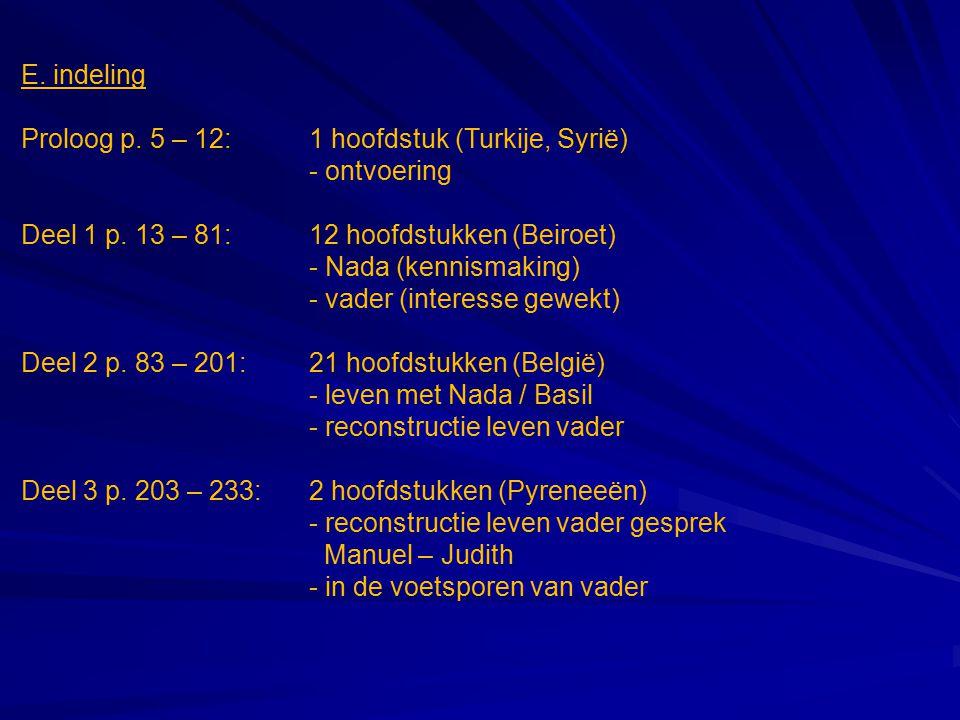 E. indeling Proloog p. 5 – 12:1 hoofdstuk (Turkije, Syrië) - ontvoering Deel 1 p. 13 – 81: 12 hoofdstukken (Beiroet) - Nada (kennismaking) - vader (in
