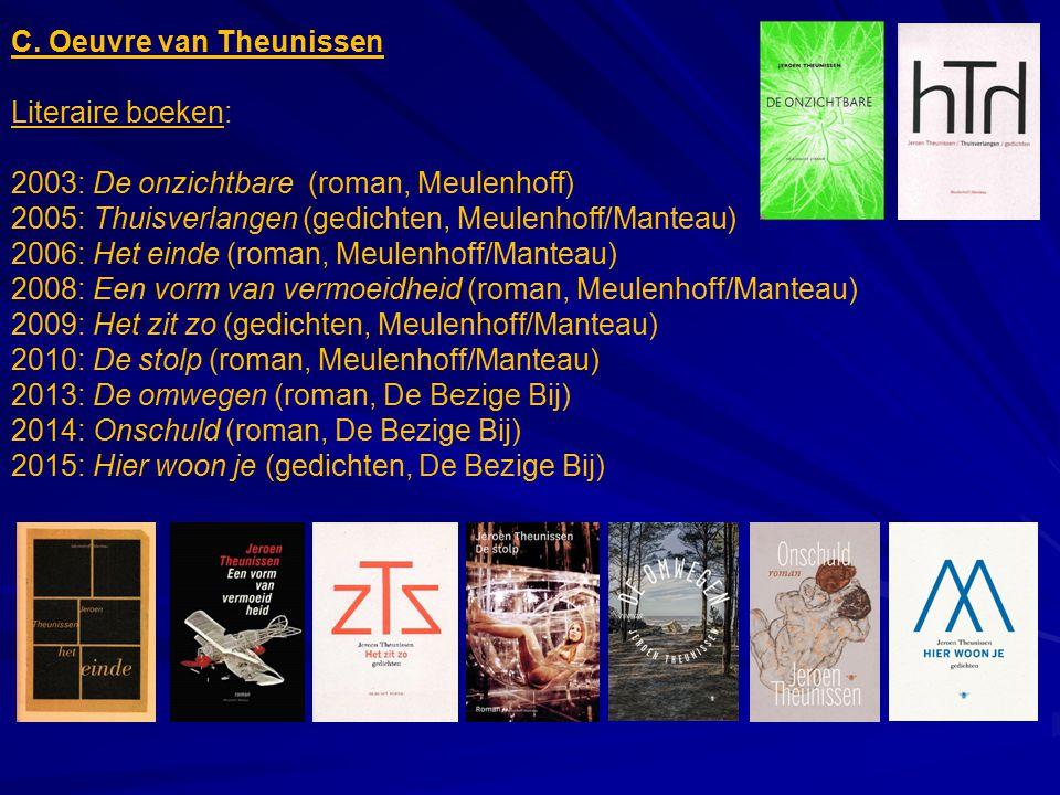 C. Oeuvre van Theunissen Literaire boeken: 2003: De onzichtbare (roman, Meulenhoff) 2005: Thuisverlangen (gedichten, Meulenhoff/Manteau) 2006: Het ein