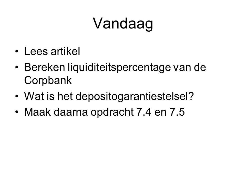 Vandaag Lees artikel Bereken liquiditeitspercentage van de Corpbank Wat is het depositogarantiestelsel? Maak daarna opdracht 7.4 en 7.5