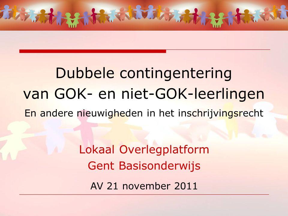 Dubbele contingentering van GOK- en niet-GOK-leerlingen En andere nieuwigheden in het inschrijvingsrecht Lokaal Overlegplatform Gent Basisonderwijs AV 21 november 2011