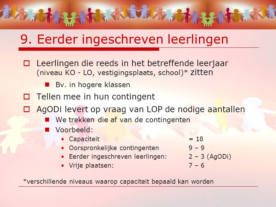 9. Eerder ingeschreven leerlingen  Leerlingen die reeds in het betreffende leerjaar (niveau KO - LO, vestigingsplaats, school)* zitten Bv. in hogere